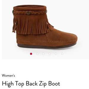 MINNETONKA Brown Tassel High Top Back Zip Boots